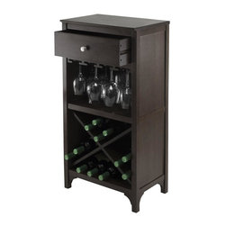 Winsome Wood - Modular Wine Cabinet with Drawer - Glass hangers. Four sections of X-wine storage. Made from solid and composite wood. Dark espresso finish. Assembly required. Drawer: 15.47 in. W x 9.25 in. D x 4.65 in. H. Glass hanger inside clearance: 16.73 in. W x 11.10 in. D x 9.06 in. H. Overall: 19 in. W x 12.60 in. D x 37.52 in. H