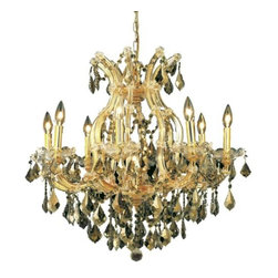 """PWG Lighting / Lighting By Pecaso - Karla 9-Light 26"""" Crystal Chandelier 2380D26G-GT-RC - Karla was an Empress from 1740 to 1780 in the waning days of the Baroque period. The Baroque love of embellishment is highlighted in the elaborate crystal swags and drops that fully dress these fixtures in a look that is pure luxury. From the gold or chrome finish to the fully lavish crystal dressing, this Karla collection represents opulent sophistication."""