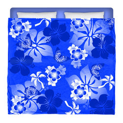 "Eco Friendly Made In USA ""Aloha Blue"" Hibiscus and Butterflies King Comforter - Dream of Hawaiian Days and Nights With This Premium ""Aloha Blue"" Hibiscus and Butterflies King Size Comforter From Our Surfer Hawaiian Bedding Bed and Bath Collection."