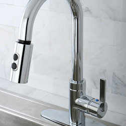 None - Modern Chrome Single Handle Faucet with Pull Down Spout - Add sleek and modern style to your kitchen with this chrome single-handle faucet. Made from durable, solid-brass material with a shiny chrome finish, this faucet features a pull down spray with two settings for jet spray and stream flow.