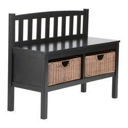 "Holly & Martin - Holly & Martin Brazos Black Bench w/ Brown Rattan Baskets X-10-5-110-440-90 - This low profile contemporary black storage bench goes well at the end of a bed, in a bathroom, entryway, or living room. Finished in satin black, this bench is built with an all-wood construction and has two rattan baskets perfect for storing all your necessities. The seat back is symmetrically lined with vertical slat braces and the sides are open for a sleek styling. Each of the two baskets measures 12"" deep, 15"" wide, and 7"" tall while the seat itself measures 12.5"" deep and 36"" wide. This simple slender design is sure to provide a convenient seat without taking up too much precious space in your home.  - FEATURES:                                                                                             - Low profile storage bench perfect for small spaces                                                    - Features 2 rattan baskets for storing all your necessities                                            - Contemporary, slatted back                                                                            - Painted black finish with brown rattan baskets                                                        - PRODUCT SPECIFICATIONS:                                                                               - Seat: 36"" W x 12.75"" D x 18.75"" H                                                                     - Backrest: 35.75"" W x 9"" H                                                                             - Baskets: 14.25"" W x 11.5"" D x 6"" H                                                                    - Clearance: 33"" W x 11.25"" D x 7.25"" H                                                                 - Approx. weight: 35.5 lb.                                                                              - Supports up to: 300 lb. (seat), 10 lb. (per basket)                                                   - Materials: rubberwood, MDF, rattan                                                                    - Assembly required                                                                                     - Overall: 36"" W x 14.25"" D x 28.5"" H"