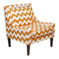 Sam Accent Chair - Classic in shape with a nod to modern design with its clean lines and bold graphic chevron print fabric, our exclusive Sam Accent Chair calls for attention in every sense of the word.  Bold, geometric and retro this chair brings style to any space. Constructed from a solid pine hardwood frame and complete with removable legs in an espresso finish.  The tangerine hued chevron fabric is 100% cotton and the chair sits at 36 inches high by 24 inch deep by 24 inches wide, with a 21 inch seat depth.