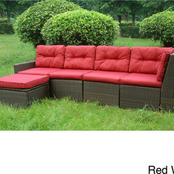 None - San Sebastian 5-piece Resin Wicker Outdoor Sectional Set - Enjoy a freindly gathering with this San Sebastian sectional outdoor sofa set. Made with an aluminum frame and resin wicker detailing,this outdoor sofa looks great and is built to withstand the elements with UV-resistant upholstery.