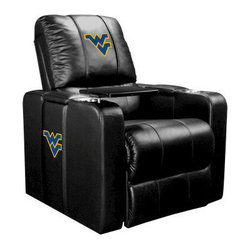 Dreamseat Inc. - West Virginia University NCAA Home Theater Plus Leather Recliner - Check out this Awesome Leather Recliner. Quite simply, it's one of the coolest things we've ever seen. This is unbelievably comfortable - once you're in it, you won't want to get up. Features a zip-in-zip-out logo panel embroidered with 70,000 stitches. Converts from a solid color to custom-logo furniture in seconds - perfect for a shared or multi-purpose room. Root for several teams? Simply swap the panels out when the seasons change. This is a true statement piece that is perfect for your Man Cave, Game Room, basement or garage. It combines contemporary design with the ultimate comfort from a fully reclining frame with lumbar and full leg support.