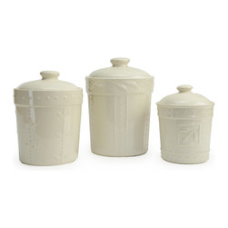 Signature Housewares/Sorrento - Sorrento Set of 3 Airtight Canisters, Ivory - Each canister is kiln fired stoneware with a beautiful lead free glaze.  The hand painted rustic finish rounds out the beauty of each piece.  A silicone seal helps keep food fresh.  Large canister holds 80 ounces, Medium 48 ounces and Small 36 ounces.