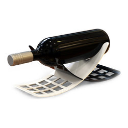 Decorpro - Echo Ultra Modern Wine Bottle Holder - Inspired by the design of the Harmony, Echo, designed by Harman Gill and Jeff Pinard is an elegantly simple wine bottle holder. Echo uses two pieces of curved sheet metal that slide together to form a gorgeously modern form. Use the Echo wine bottle holder as a centerpiece to display the wine that will be served with your meal, or to show off that new vintage you recently purchased.
