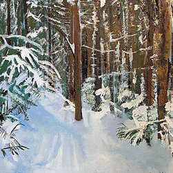 Freshly Fallen (Original) by Jen Dacota - This painting was painted from a photo that was taken of a cross country skiing trail in a region of Pennsylvania.