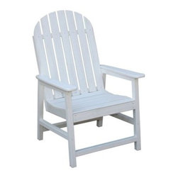 Eagle One Recycled Plastic Alexandria Patio Chair - Sure to look great on any patio or deck, the Alexandria Patio Chair features a simple design and is available in a variety of color options. Constructed of recycled plastic, this chair has the look and feel of real wood without the maintenance and upkeep. You'll never need to paint or stain it, and you'll never experience warping or cracking in the chair's surfaces. The Alexandria Patio Chair has a traditional look with a curved-top, straight backrest that is slightly reclined for comfort. The spacious seat is contoured and armrests are nicely sized. Horizontal supports add extra stability to the legs of this chair and the zinc and stainless steel hardware is great for outdoor use.The Green Benefits of Plastic LumberPlastic lumber is recycled high-density polyethylene (HDPE) and sometimes other additives, such as fiberglass, extruded into common lumber profiles. HDPE is a very durable plastic, making recycled plastic lumber a positive alternative to wood in external environments. The uses, as with wood, are endless. It is particularly advantageous in areas where exposure to the elements is frequent or high abrasion is likely.Additional benefits of recycled plastic over wood:Virtually maintenance-freeImpervious to insectsWill not crack or splitResistant to graffiti and stainsDoes not contaminate ground or soilHigh abrasion resistanceSplinter-freeImpervious to marine borersColor-impregnated, no painting requiredNo harmful chemicalsAbout Eagle One FurnitureEagle One Products has been designing and manufacturing environmentally friendly, durable, and aesthetic products for use on golf courses, resorts, hotels, and restaurants for over 12 years. Built to last in some of the harshest areas and weather conditions - intense sunlight, rain, snow, and chemicals, Eagle One furniture looks new, season after season.Recognized as the leader in introducing recycled plastic lumber products into the golf industry, Eagle One has man
