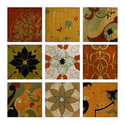 iMax - iMax Paragould Wall Decor - Set of 9 X-9-68274 - Rich warm tones are captured in the Paragould wall d&#233:cor, a set of nine panels with Spanish influenced medallion and patterns.
