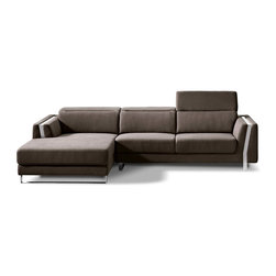 Zuri Furniture - Brown Xavier Sectional Sofa, Left Chaise Plus 3 Seater - Subtle yet beautiful. Xavier's mix of fabric with chrome accents allow it to blend with any style.