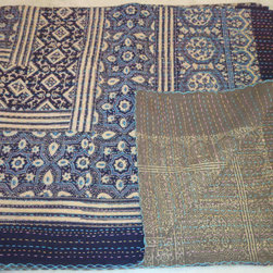 Handmade Kantha Throw by Jaisalmer Handloom - Fold a handmade kantha over the back of a solid sofa or the foot of a bed for a layered effect.