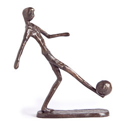 Danya B - Handcrafted Cast Bronze Soccer Player Kicking Ball Sculpture - This gorgeous Handcrafted Cast Bronze Soccer Player Kicking Ball Sculpture has the finest details and highest quality you will find anywhere! Handcrafted Cast Bronze Soccer Player Kicking Ball Sculpture is truly remarkable.