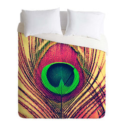 DENY Designs - DENY Designs Shannon Clark Peacock 2 Duvet Cover - Lightweight - Turn your basic, boring down comforter into the super stylish focal point of your bedroom. Our Lightweight Duvet is made from an ultra soft, lightweight woven polyester, ivory-colored top with a 100% polyester, ivory-colored bottom. They include a hidden zipper with interior corner ties to secure your comforter. It is comfy, fade-resistant, machine washable and custom printed for each and every customer. If you're looking for a heavier duvet option, be sure to check out our Luxe Duvets!