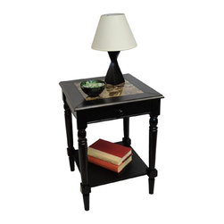 Convenience Concepts - Convenience Concepts Accent Table X-5812406M - The French Country Faux Marble Top End Table combines sophistication and elegance. Featuring a drawer for concealed storage. You can hide away remote controls or other small odds and ends. The bottom shelf provides an open storage area for any number of things from books to baskets. Coordinating items are available and sold separately.