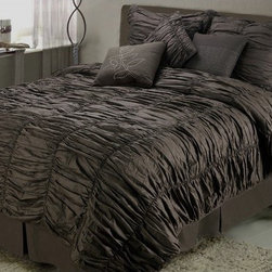 """Jenny George Designs - Ruched 7-piece Comforter Set in Brown - Features: -Available in King, Queen, Full, and Twin sizes. -Color: Chocolate Brown. -Twin set includes: twin comforter, 1 standard sham, bed skirt, and 3 18""""x18"""" decorative pillows.. -Full set includes: full comforter, 2 standard shams, bed skirt, and 3 18""""x18"""" decorative pillows.. -Queen set includes: queen comforter, 2 standard shams, bed skirt, and 3 18""""x18"""" decorative pillows.. -King set includes king comforter 104""""x94"""", king sham 20""""x36""""x2"""", bed skirt 78""""x80""""x15"""", decorative pillows 18'x18'. -Comforter-face & back 100% Polyester, filling 100% polyester. Standard shams-face & back 100% Polyester, filling 100% polyester. Bed skirt-drop 100% Polyester, platform 100% polyester. Decorative pillows-face & back 100% Polyester, filling 100% polyester. -Machine wash."""