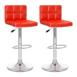 Sonax - Sonax CorLiving High Back Adjustable Bar Stool in Red Leatherette (Set of 2) - Sonax - Bar Stools - B457UPD - Add spice to any bar or kitchen island with the barstool with padded seat and stylish high back rest. Features Soft Red tufted leatherette upholstery, chrome foot rest, chrome gas lift and chromed base. The contemporary design will accent any decor setting while offering the option to adjust to variable bar heights with ease. A great addition to any home!