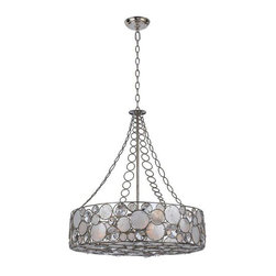 Crystorama Lighting - Crystorama Lighting 528-SA Palla Eclectic Chandelier in Antique Silver - Crystorama Lighting 528-SA Palla Eclectic Chandelier In Antique Silver With Natural White Capiz Shell + Hand Cut Crystal