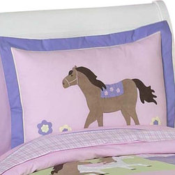 Sweet Jojo Designs - Pony Pillow Sham - The Pony standard pillow sham coordinates beautifully with the Sweet jojo designs, Pony bedding collection. This pillow sham is a quick and easy way to complete the look and theme in your child's bedroom. Machine washable. Fits all standard size pillows. The Pillow Sham Dimensions are 20 in. x 26 in.