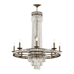 Crystorama - Mercer Chandelier - Mercer Chandelier features hand polished crystals with the choice of english bronze or silver finishes. Also available in 4-light, 6-light, 8-light, or 12-light versions. Either (4), (6), (8) or (12) 60-watt, 120 volt B10 candelabra base incandescent bulbs are required, but not included. Dimensions: 4-light: 10.5W x 18H. 6-light: 27W x 33H. 8-light: 36W x 42H. 12-light: 43W x 48H.