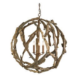 Brilliant Coastal Lighting - Driftwood Orb Chandelier measures 29rd x 31h and features three lights. This impressive orb is created from a wrought iron framework that is covered with driftwood pieces. Each small piece of driftwood is carefully selected and painstakingly wired to the framework. Therefore no two pieces are ever quite the same. The driftwood is left in its natural state so no further finish is required.