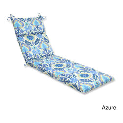Pillow Perfect - Pillow Perfect 'Santa Maria' Outdoor Chaise Lounge Cushion - Lounge around in style and comfort on this weather and UV-resistant outdoor chaise lounge cushion with ties. Infused with a southwest damask pattern,this chaise lounge cushion includes a new and improved polyester fiber filling.