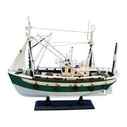 "Handcrafted Model Ships - Finally Fishing 18"" - Wood Model Fishing Boat - Not a model ship kit"