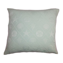 """The Pillow Collection - Qadira Coastal Pillow Blue - This accent pillow is chic and plush, which makes it a perfect statement piece for your bedroom or living room. Adorned with coastal-themed patterns this throw pillow stands out against any furniture piece. This 18"""" pillow is crafted from a blend of materials, 50% cotton and 50% polyester fabric. Decorate this square pillow on its own or pair it with other patterns. Hidden zipper closure for easy cover removal.  Knife edge finish on all four sides.  Reversible pillow with the same fabric on the back side.  Spot cleaning suggested."""