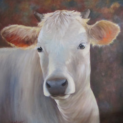 "Oil Paintings by Cheri - Cow Painting - Elvira the White Cow - Original Oil Painting - ""Elvira"" is a large 30x30 original oil painting of a crossbred Charolais cow. This portrait of her is set against a neutral colored background to feature the light that is wrapping around her neck, ears and head. Her ears are perked up and she is ready to be viewed on a mantel or any eating area (kitchen) décor."