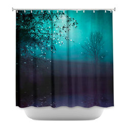 DiaNoche Designs - Shower Curtain Artistic - Song of the Midnight Bird - DiaNoche Designs works with artists from around the world to bring unique, artistic products to decorate all aspects of your home.  Our designer Shower Curtains will be the talk of every guest to visit your bathroom!  Our Shower Curtains have Sewn reinforced holes for curtain rings, Shower Curtain Rings Not Included.  Dye Sublimation printing adheres the ink to the material for long life and durability. Machine Wash upon arrival for maximum softness. Made in USA.  Shower Curtain Rings Not Included.