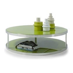 Modern green round glass top coffee table Oshima - Contemporary round Coffee Table Oshima consists of a green glass top and a stylish chromed stainless steel base. Simple and nice. There is an additional storage space under the coffee table top for your convenience.