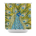 DiaNoche Designs - Shower Curtain Artistic - The Peacock - DiaNoche Designs works with artists from around the world to bring unique, artistic products to decorate all aspects of your home.  Our designer Shower Curtains will be the talk of every guest to visit your bathroom!  Our Shower Curtains have Sewn reinforced holes for curtain rings, Shower Curtain Rings Not Included.  Dye Sublimation printing adheres the ink to the material for long life and durability. Machine Wash upon arrival for maximum softness. Made in USA.  Shower Curtain Rings Not Included.