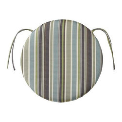 Home Decorators Collection - Outdoor Round Chair Cushion - Pair our Outdoor Round Chair Cushions with your outdoor chairs and stools to add long-lasting comfort and style. These cushions are UV-protected and treated to resist fading, soil and stains. We offer a variety of Sunbrella®, Outdura® and polyester fabrics. Sunbrella® and Outdura® are 100% solution-dyed acrylics. Resists fading, stains and mildew. Available in Sunbrella® or Outdura® acrylic fabric or weather-treated polyester. Filled with mildew-resistant polyester. Available in a variety of designs and colors. Includes ties for stability.
