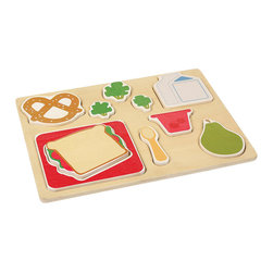 "Guidecraft - Guidecraft Sorting Food Trays: Lunch - Guidecraft - Kitchen Play Sets - G461 - The Lunch Sorting Food Tray displays a well-balanced meal and colorful tray setting in a fun puzzle-like configuration. Chunky raised pieces are easy to grasp and stand on their own for dramatic play. Helps develop shape and fine-motor skills and encourages imaginative play. Tray size: 11"" x 14"". Ages 2+."