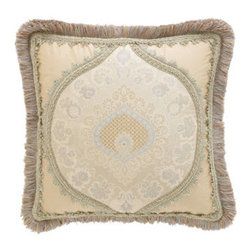 """Sweet Dreams - Sweet Dreams Square Medallion-Center Pillow, 15""""Sq. - Inspired by romantic dreams of ball gowns and fairy tales, these linens by Sweet Dreams® combine layers of color and texture to give luxury new depths. The petite floral medallion damask pattern of the blue and ivory silk coverlet is softened by an..."""