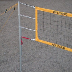 Ultimate Systems Jose Cuervo Power Volleyball Set - Poles: 3-section heavy-duty telescoping anodized aluminum 2.25 inches in diameter with .125-inch wall thickness Ribbed for extra strength Double-locking push-button height adjustment 99.5 91.5 82.375 and 77-inch height settings Track on middle tube with steel cam-buckle net tension strap Net Twisted .375-inch rope top and botton with 3-inch Cuervo logo tape 13 oz. yellow vinyl and 27 lb. weather-treated knotted polyester netting 32-foot x 39-inch knotted polyester weather-treated netting Four grommets and tie cords on side tapes and .75-inch wooden end dowels Guylines & Stakes 2 guylines per pole .25-inch yellow rope and storage hand winder Extra-large pull-down slide bar handles and chain loops 12-inch long .372-inch diameter steel stakes Web Boundary Pre-measured 30- x 60-foot quarter-inch rope line with preformed loops Four 5-inch steel stakes with bungee cords Storage hand winder Ready for grass play Bag Heavy-duty black polyester storage bag 53 x 13.75 inches Handles adjustable shoulder strap double zipper stake pocket