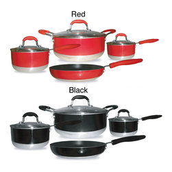 Gourmet Chef - Gourmet Chef Induction Ready 7-piece Non-stick Cookware Set - Available in either red or black, these gourmet non-stick cookware sets feature everything an aspiring chef needs to prepare a variety of delicious meals. The pans have an aluminum core that distributes heat evenly for superior cooking performance.