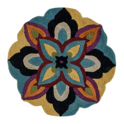 "Loloi Rugs - Loloi Rugs Azalea Collection - Blue/Multi, 3'-0"" x 3'-0"" Round - The Azalea Collection celebrates desirable round rugs in the most updated colors and patterns for today's fashionable interiors. Available in a broad range of styles, Azalea has a distinctive look that is achieved by its meticulously hand-tufted, wool construction. Made in India, the cut-and-loop textured rounds come in a varied palette that includes spring and fall hues, brights and everyday, familiar tones, too. These fresh rounds will add a dramatic wow-factor to any interior."