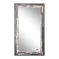 Rayne Mirrors - American Made Distressed Rustic Ivory & Black Rivet Trim Full Length Mirror - This heavily distressed full length mirror will enhance any room's decor. This beautiful tall mirror features a rustic white wash finish and dark rivet trim that will compliment any decor.  Perfect to hang or lean.  Rayne's American Made standard of quality includes; metal reinforced frame corner  support, both vertical and horizontal hanging hardware installed and a manufacturers warranty.
