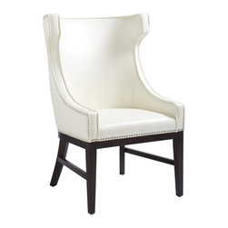 Sunpan - Sunpan Kashmir Leather High Back Chair - This dramatic bonded leather,high back winged chair can be used as a dining or occasional chair. The piece features silver nail head trimming with an espresso-finished frame and legs.