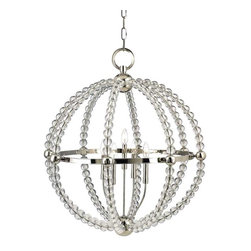 Hudson Valley Lighting - Hudson Valley Danville I-3 Light Pendant in Polished Nickel - Hudson Valley Lighting's Danville's I-3 Light Pendant shown in Polished Nickel. Curves of sumptuous crystal beads shape Danville's graceful contours. While the chandeliers' glamour owes to crystal drops and polished metal rings, their open form enlivens the play of light and shadows. Danville's luxurious materials acclimate well to formal settings, yet, the airy quality of the designs suggests a broader range of decorating possibilities.