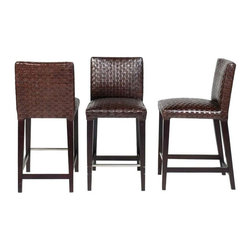 SOLD OUT!  Woven Leather Bar Stools in Brown - $1,620 Est. Retail - $390 on Chai -