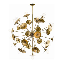 "Arteriors Home - Arteriors Home Starburst Chandelier-, Antique Brass - This jaw dropping 30 light starburst chandelier can also be assembled without the circular reflective back plates, giving it an entirely different look. If you are looking for a dramatic piece for a large space, this could be it. Shown with Nostalgic thread bulbs (not included). The chandelier measures 45"" in diameter with and adjustable height of 53-59"". The chandelier comes with (1) 6"" and (2) 12"" rods. The chandelier takes 30 25 watt max bulbs (not included). It is available in Antique Brass or Polished Nickel."