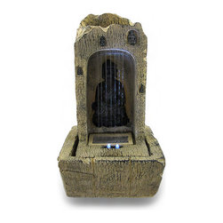 Zeckos - Soothing Buddha Tabletop Water Fountain with LED Light - Perfect for an entryway, office, bedroom or anywhere you'd want to have the soothing sounds of babbling waterfall, this resin Buddha tabletop water fountain is sized just right for a nightstand, tabletop or shelf at 11.5 inches high, 6.5 inches long and 6.5 inches wide (29 X 17 X 17 cm). It's simple to use, and it includes a submersible pump and all the necessary parts, making it easy quickly set up so you'll be relaxing in no time It features a hand-painted natural tan rock finish, and an LED lights illuminates Buddha from below while the water rains down. It makes a wonderful gift sure to be appreciated