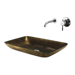 Vigo - VIGO VGT111 Copper Glass Vessel Sink, Faucet - The VIGO Rectangular Copper glass vessel sink and wall mount faucet offers an elegantly modern design.