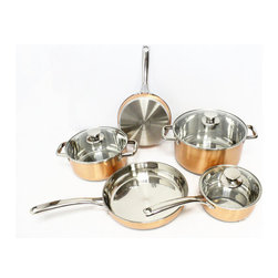 Gourmet Chef Copper Pro 8-Piece Cookware Set - Copper pots and pans are so connected with French cooking.