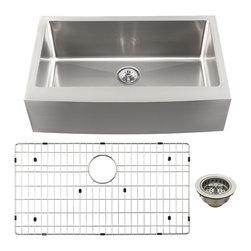 Schon - Schon Luxury 16 Gauge Single Bowl Apron Front Kitchen Sink (SCAPS16) - Schon SCAPS16 Luxury 16 Gauge Single Bowl Apron Front Kitchen Sink, Stainless Steel