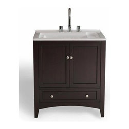 """Stufurhome - Stufurhome 30.5"""" Expresso Laundry Single Sink Vanity - Dark Expresso - Stufurhome has the perfect bathroom vanity for your remodel at a perfect price. Stufurhome's vanities are pieces of finely made furniture detailed with rich color, charming woodwork, and ample storage space. Stylish, tasteful and practical, Stufurhome.This All-in-One Laundry Single Sink Vanity, draped in dark expresso polish, is a masterful combination of simplicity, functionality and charm. The deep rectangular sink, spacious storage and drawers definitely fulfill the needs of modern day living. The contrasting bright white of the sink and the dark expresso finish of the cabinet make this vanity an attention grabber and add a scent of gracefulness to your laundry room.Features30 1/2"""" Contemporary laundry single sink vanity3 Faucet holes pre-drilledBig cutout back for plumbing installationLarge storage with shelves and a drawerBig, deep rectangular acrylic white sinkCircular and polished metallic knobs on the doorsSame height as standard washing machines and dryersFaucet sold separatelyIvory-white undermount sink30.5""""W x 22""""D x 36""""HStufurhome 1 Year Limited-WarrantyHow to handle your counterView Spec Sheet"""