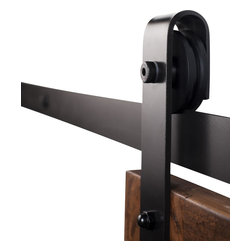 Rustica Hardware - Industrial Barn Door Hardware - Flat Black Finish - 7 ft Track - Nylon Wheel - Barn Door Hardware with a Strong Industrial Make.