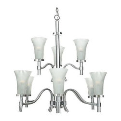 """Quoizel - Quoizel Lighting ON5009C Orion Collection Nine Light Two Tier Chandelier - The following values are the attributes of this product: Height=33"""", Diameter=36-1/2"""", Bulb Count=9, Bulb Type=Medium, Color / Finish=Polished Chrome, Glass Type=EtchedQuoizel creates more than lighting and home accessories. They create timeless pieces designed with you in mind. Quoizel's dedication, integrity and quality not only goes into the design of their products, but its in the way they do business as well. Its why they have grown from a small company to become one of the nations leading manufacturers of fine decorative lighting and home accessories. Frou-frou not for you? Then try this refreshing, contemporary style for the modern home of today. The etched glass is gently ribbed for a trend-conscious look."""