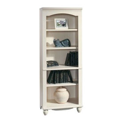 Sauder - Harbor View 5 Shelf Bookcase in Antique White - 3 Adjustable shelves. Enclosed back panel has cord access. Detailing includes solid wood turned feet. Made of engineered wood. Assembly required. 27 in. W x 17 in. D x 72 in. H